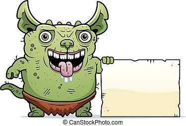 Ugly Gremlin Sign - A cartoon illustration of an ugly...