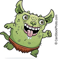 Ugly Gremlin Running - A cartoon illustration of an ugly...