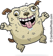 Crazy Ugly Dog - A cartoon illustration of an ugly dog...