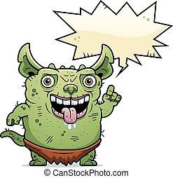 Ugly Gremlin Talking - A cartoon illustration of an ugly...