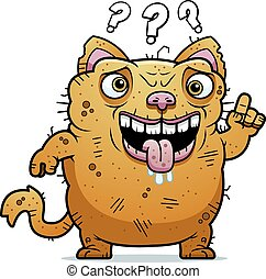 Confused Ugly Cat - A cartoon illustration of an ugly cat...