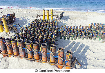 installation of pipes for fireworks pyrotechnics - system of...