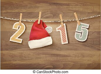 Holiday background with 2015 and a santa hat. Vector.