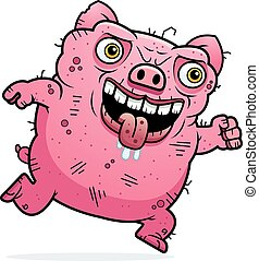 Ugly Pig Running - A cartoon illustration of an ugly pig...