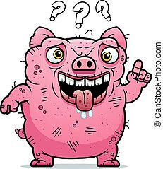 Confused Ugly Pig - A cartoon illustration of an ugly pig...