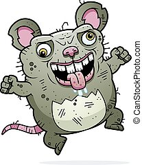 Crazy Ugly Rat - A cartoon illustration of an ugly rat...