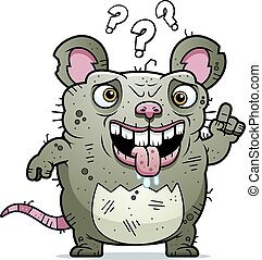 Confused Ugly Rat - A cartoon illustration of an ugly rat...
