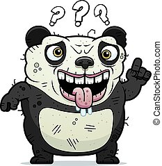 Confused Ugly Panda - A cartoon illustration of an ugly...