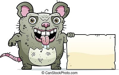 Ugly Rat Sign - A cartoon illustration of an ugly rat with a...