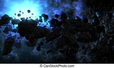 Asteroid field and dying red planet - Asteroid field...