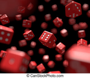 Reds dice falling - Dozens of reds dice falling. Cg image...
