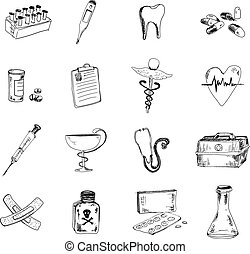 Medical set Hand drawn doodle graphic illustrations