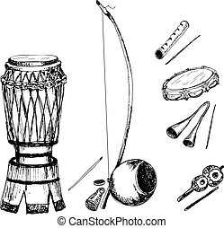 Collection of musical instruments of capoeira. Hand drawn...