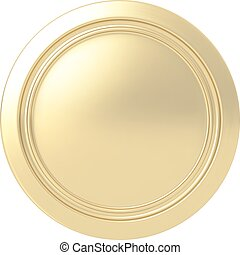 Gold medal. Round button. Highly detailed vector...