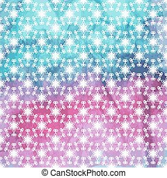 Vector Seamless Pattern with white snowflakes on watercolor back