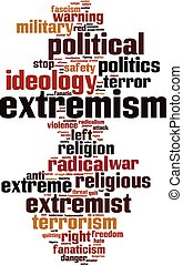 Extremism word cloud concept. Vector illustration