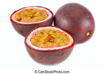 passion fruit maracuya isolated on white