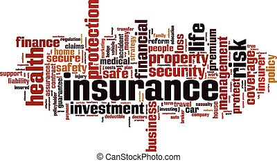 Insurance word cloud concept Vector illustration