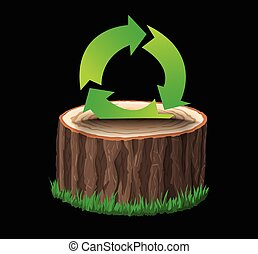 Cross section of tree stump with recycle symbol