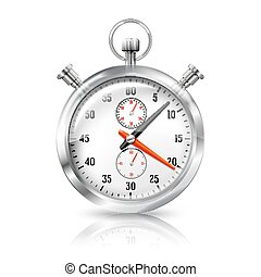 Silver bright stopwatch clock with reflection, isolated on...