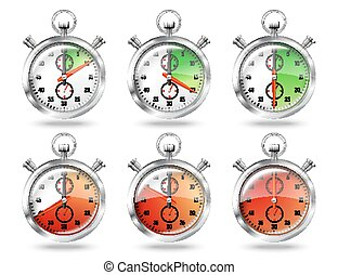 Set of silver bright stopwatch clock intervals, isolated on...