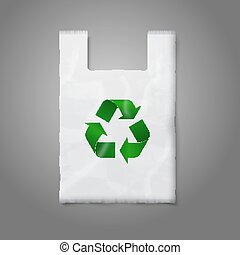 Blank white plastic bag with green recycling sign, isolated on grey for your design and branding. Vector