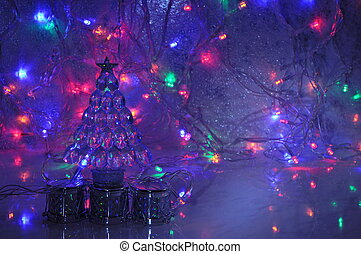 Christmas background with new year tree decoration and...