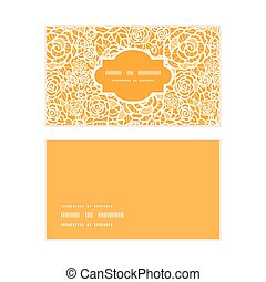 Vector golden lace roses horizontal frame pattern business cards set