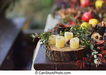 candles and fruit