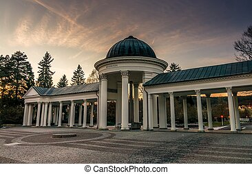 Colonnade in Marianske Lazne in Czech republic at evening