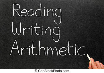 The 3 r\'s, reading, writing and arithmetic.