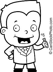 Scientist Boy - A happy cartoon boy scientist with a test...