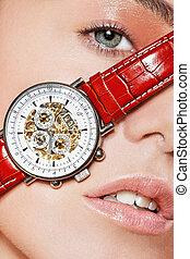 Beauty1 - Beautyshot of Scarlett with a luxury watch on her...