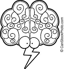Brain Storm - A cartoon brain with eyes and a lightning bolt...
