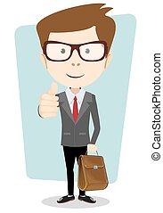 Smiling winking cartoon business man in a jacket giving the...