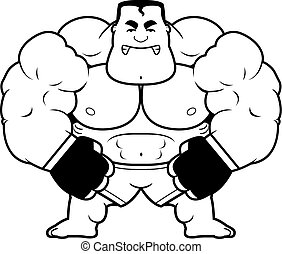 Cartoon MMA Fighter Angry - A cartoon illustration of a mma...