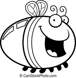 Cartoon Firefly Smiling - A cartoon illustration of a...