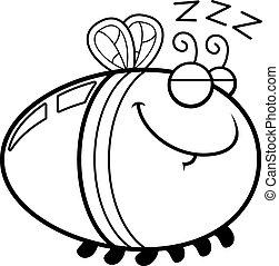 dormir, dessin animé, luciole,