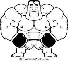 Cartoon MMA Fighter Flexing - A cartoon illustration of a...