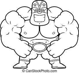 Cartoon Luchador Flexing