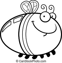 Happy Cartoon Firefly - A cartoon illustration of a firefly...