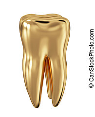 Golden tooth isolated