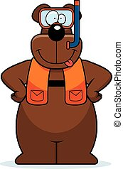 Cartoon Bear Snorkeling - A cartoon illustration of a bear...