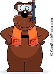 Cartoon Bear Snorkeling - A cartoon illustration of a bear...
