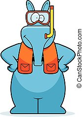Cartoon Aardvark Snorkeling - A cartoon illustration of an...