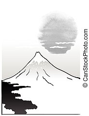 Mountain Fuji, japanese art illustration - Mountain Fuji,...
