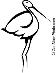 Stylised Stork - Illustration of a stork silhouette isolated...