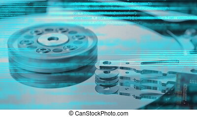 Computer hard disk and animated script programming code as...