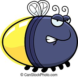 Angry Cartoon Firefly - A cartoon illustration of a firefly...