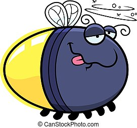 Cartoon Drunk Firefly - A cartoon illustration of a firefly...